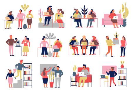 Coworking 12 composition de bande dessinée du groupe de personnes employées indépendamment partageant les valeurs du bureau du lieu de travail illustration vectorielle isolée Vecteurs
