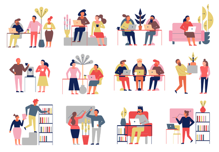 Coworking 12 composizione di cartoni animati di persone impiegate in modo indipendente che condividono i valori dell'ufficio del posto di lavoro illustrazione vettoriale Vettoriali