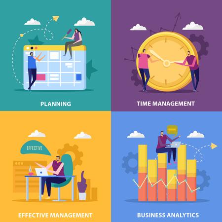 Concept de design plat 2x2 de gestion efficace avec des images d'horloge de calendrier et de symboles graphiques avec illustration vectorielle de personnes