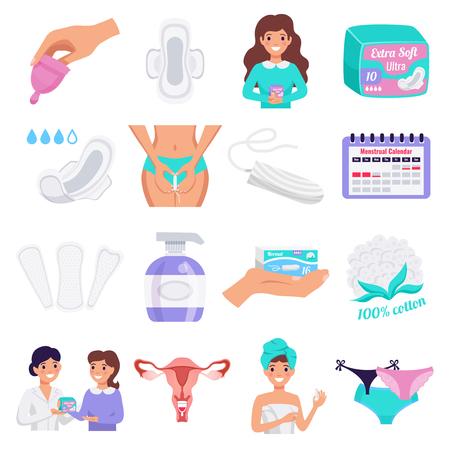 Flache Ikonen der weiblichen Hygiene, die mit Tampons Menstruationstassen natürliche Tuchpads Slipeinlagen gesetzt sind, isolierte Vektorillustration