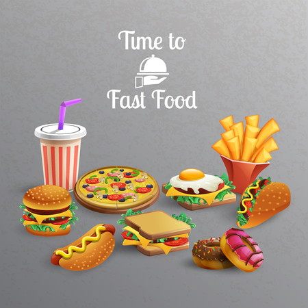 Fast food meal with burgers donuts sandwiches pizza french fries drink on grey background cartoon vector illustration Illustration