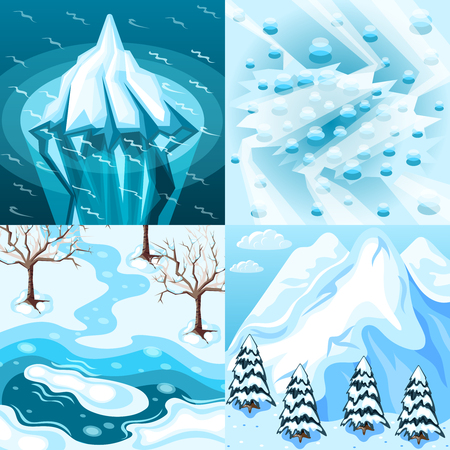 Winter landscaping isometric design concept with iceberg frozen and melting lake snowy mountain isolated vector illustration