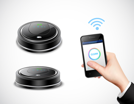 Realistic robotic vacuum cleaner with wifi control by smart phone on isolated light background vector illustration Illustration