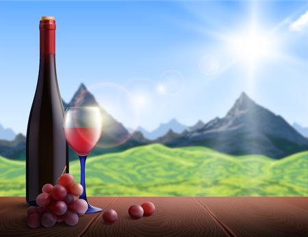 Wein realistischer Hintergrund mit Bergblick und Holztisch-Vektor-Illustration