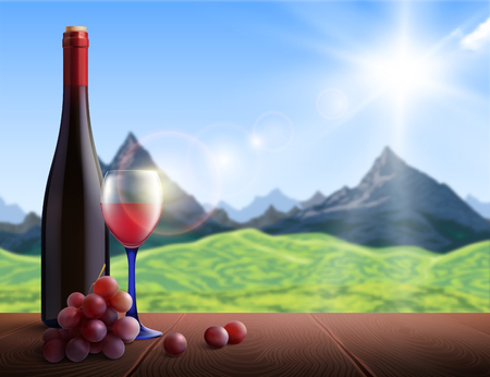 Wine realistic background with mountains view and wooden table vector illustration