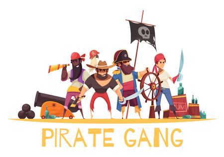Composition de fond de pirate avec des personnages humains de style dessin animé de pirates avec des munitions et des armes avec illustration vectorielle de texte