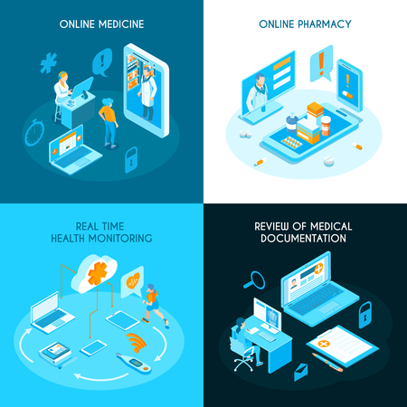 Online medicine isometric concept internet pharmacy health monitoring in real time electronic medical documentation isolated vector illustration Vettoriali