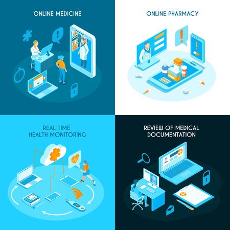 Médecine en ligne isométrique concept internet pharmacie surveillance de la santé en temps réel documentation médicale électronique isolé illustration vectorielle