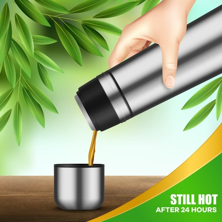 Double wall stainless steel vacuum flask keeping beverage temperature 24 hours in hand realistic advertising vector illustration