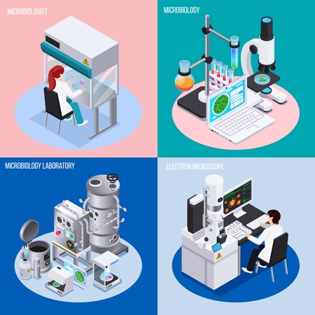 Microbiology laboratory 2x2 design concept set of objects for science experiments beakers and flasks isometric vector illustration Illustration