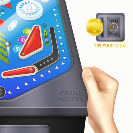 Colored cartoon pinball desk composition with hand of boy or girl on the desk and instruction try your lucky vector illustration Ilustração