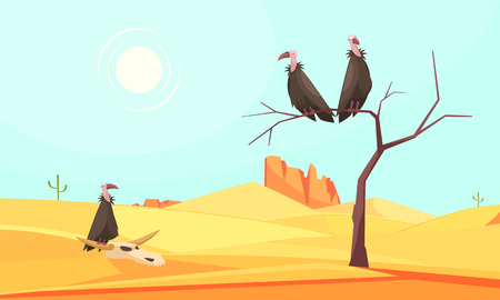 Desert bird composition with doodle style outdoor roughland scenery and dry tree with birds and sky vector illustration