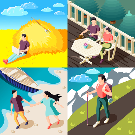 Downshifting escaping stress concept 4  isometric compositions with people enjoying nature traveling working relaxing outdoor vector illustration Illustration