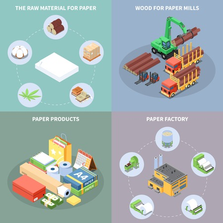 Paper production concept icons set with paper factory symbols isometric isolated vector illustration