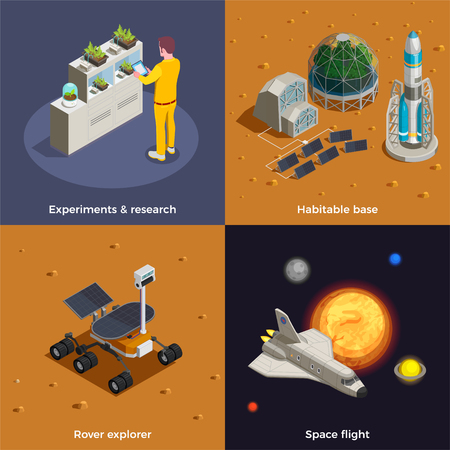 Mars colonization 2x2 design concept set of space flight rover explorer research experiments habitable base isometric compositions vector illustration