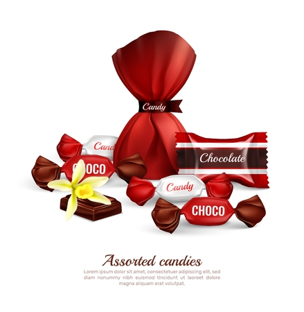 Assorted chocolate candies in colorful foil packaging with fresh vanilla flower realistic advertising composition lettering vector illustration