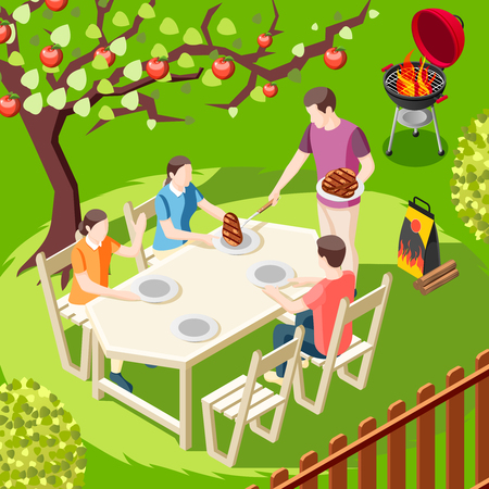 Grill bbq party isometric background with back yard landscape and family member characters sitting at table vector illustration Çizim