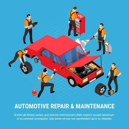 Concepto isométrico de reparación automotriz con ilustración de vector de símbolos de mantenimiento y equipos
