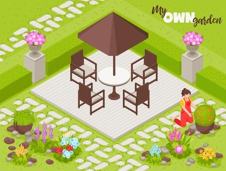 Arrière-plan de conception de paysage avec des fleurs et des plantes de clôture illustration vectorielle isométrique
