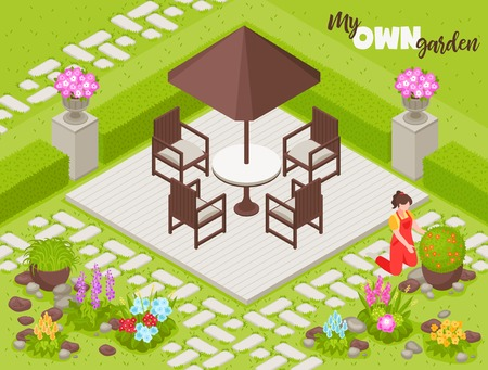 Landscape design background with fence flowers and plants isometric vector illustration