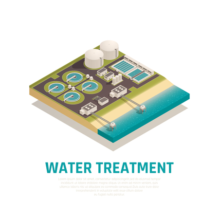 Advanced water treatment plant isometric composition with settling basins filtration separation oxidation wastewater purification facilities vector illustration