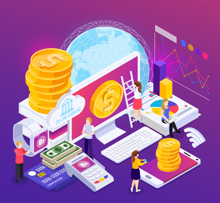 Composizione isometrica bancaria online con informazioni finanziarie e operazioni su sfondo viola con illustrazione vettoriale bagliore Vettoriali