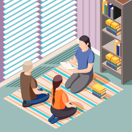 Alternative learning isometric background with teacher and kids sitting on floor during literature class vector illustration