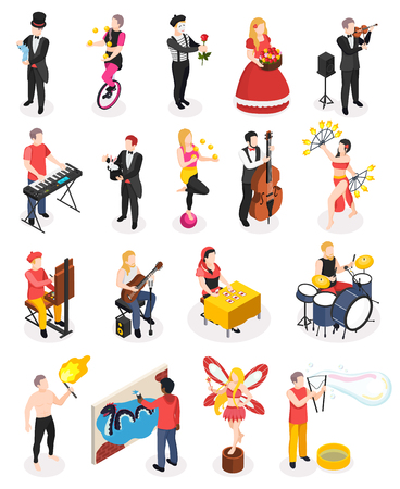 Street artists musicians master of fire show magicians living statues and florist isometric people isolated vector illustration