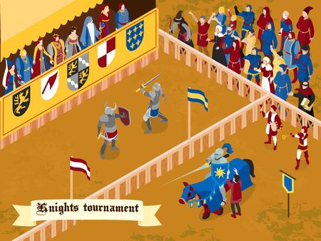 Composición medieval coloreada e isométrica con el título del torneo de caballeros en la ilustración de vector de cinta blanca