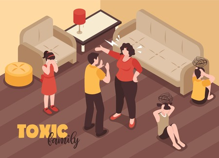 Family conflicts background with toxic relations symbols isometric vector illustration