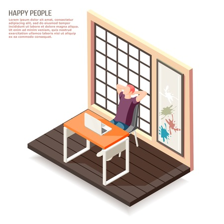 Happy people at work isometric composition with enjoying creative job art designer  behind his laptop vector illustration Illustration