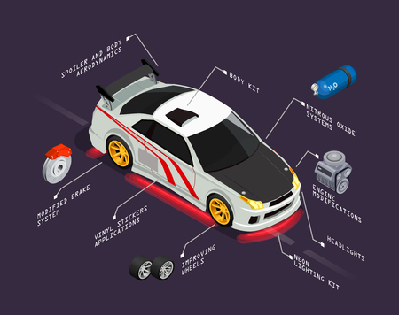 Car tuning isometric poster representing automobile with improving wheels nitrous oxide systems headlights vinyl stickers body kit elements vector illustration Illustration