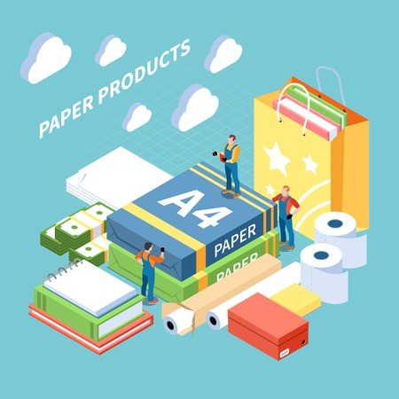 Paper production concept with finished products symbols isometric vector illustration