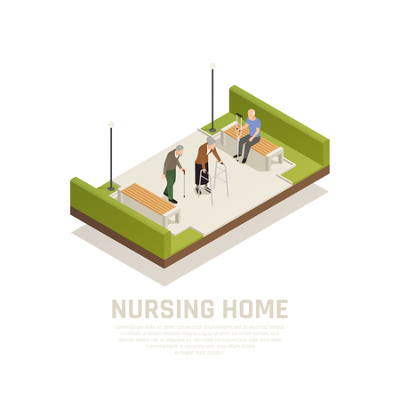 Elders with disabilities nursing home outdoor activities isometric composition with using cane crutches walker people vector illustration