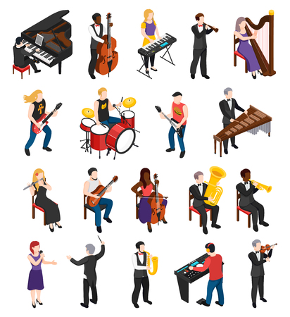 Conductor singer and musicians with stringed wind bowed and percussion instruments isometric people isolated vector illustration Illustration