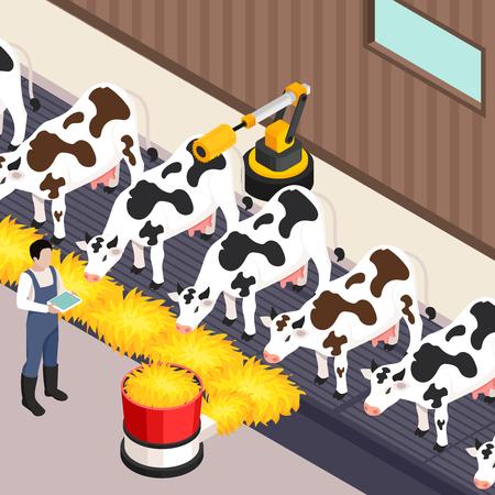 Smart farm set with technology symbols isometric isolated vector illustration