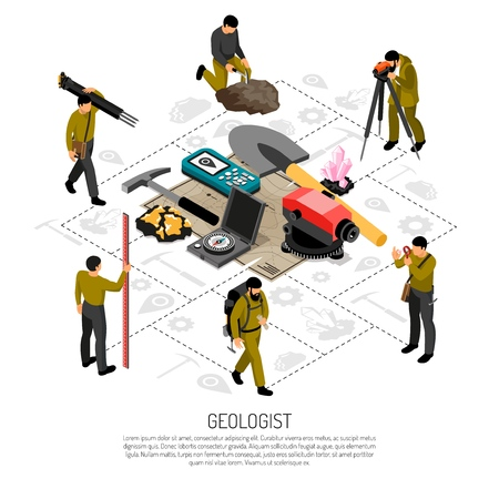 Geologist field work uniform tools minerals samples geodetic measurements instruments isometric composition against flowchart background vector illustration