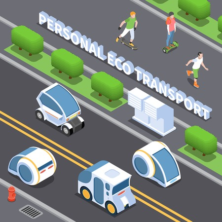 Personal eco transport background with electric cars symbols isometric vector illustration