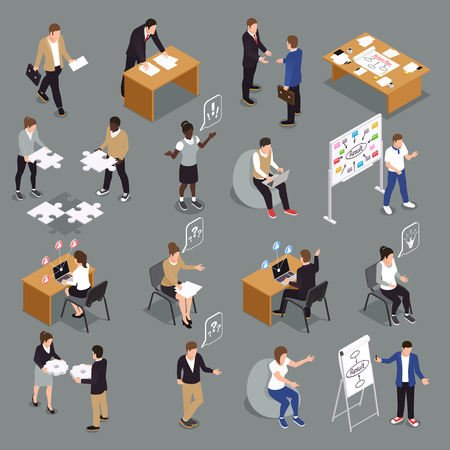 Teamwork efficient collaboration isometric icons collection with interacting unified sharing ideas brainstorming decisions making people vector illustration Çizim