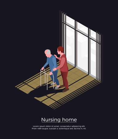 Nursing home isometric design concept with female person looking after elderly man moving with walker vector illustration