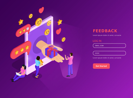 CRM system feed back with mobile device isometric composition with user account purple background vector illustration Illustration