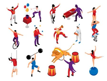 Izometryczne ikony zawodu wykonawcy cyrkowego ustawione z magiem siłacz klaun pantomima akrobata poskramiacz lwa na białym tle ilustracji wektorowych