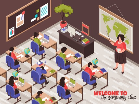 Teachers and classroom poster with Geography class symbols isometric vector illustration 向量圖像