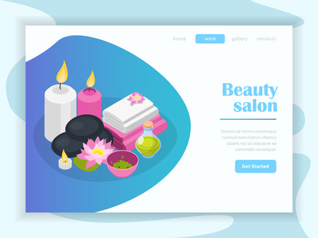 Accessories of beauty salon isometric landing page of internet site with buttons menu vector illustration Foto de archivo - 112909218