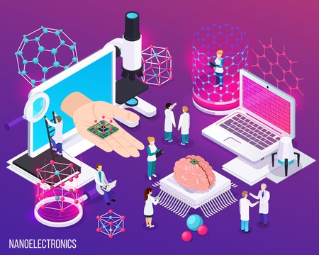 Nanoelectronics isometric composition with icons demonstrated scientific achievements in microbiology and modern medicine vector illustration