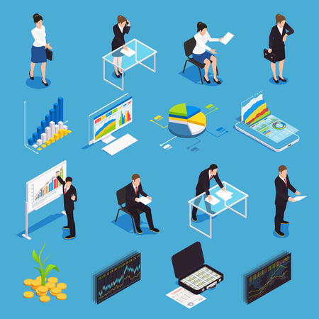 Investment funds isometric icons set with  financial market growth diagram economist manager strategy stock exchange vector illustration
