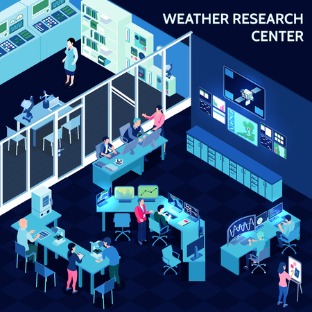 Colored isometric meteorological weather center composition with office in open space style vector illustration