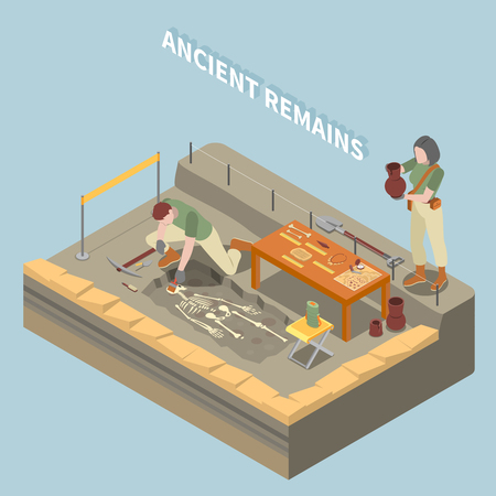 Archeology isometric concept with ancient remains and objects symbols vector illustration
