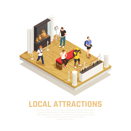 Local attractions isometric composition with people during visit of museum in travel time vector illustration Foto de archivo - 112909273