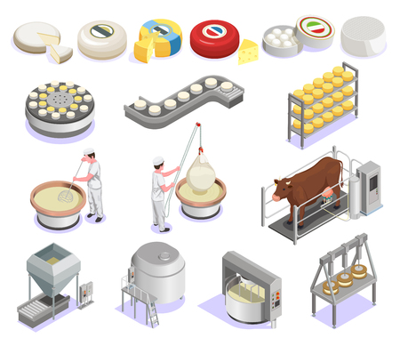 Cheese production isometric set with factory equipment and large assortment of finished products isolated vector illustration